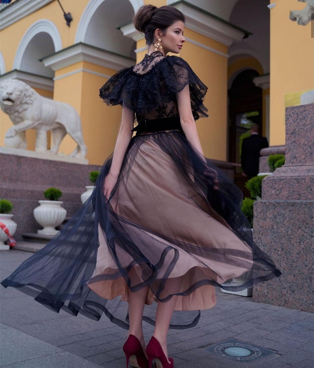 Black Prom Dress 2021 A-Line Floor Length Off Shoulder Crystal Beaded Women Formal Party Gowns Elegant Tulle Special Occasion
