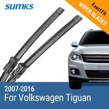 SUMKS Scheibenwischerblätter für Volkswagen VW Tiguan Mk1 / Mk2 Fit Push Taste Arme Modell Jahr von 2007 zu 2018