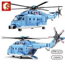 Sembo 908 pçs helicópteros fighter blocos de construção cidade militar Z-18 utilitário avião do exército piloto figura avião tijolos crianças brinquedo