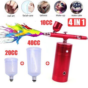 For Nail Art Face Paint Cake Coloring Wireless Airbrush Kit With Rechargeable Airbrush Compressor Big Capacity Ink Cup Spray Pen