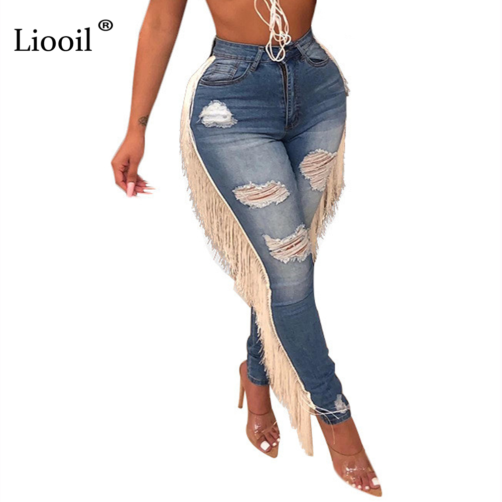 Liooil Sexy Skinny Denim Jeans Womens With Tassel Holes High Waist Pencil Pants Plus Size Bottoms Wash Distressed Jean Trousers