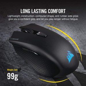 Беспроводная игровая мышь CORSAIR HARPOON RGB, беспроводная перезаряжаемая игровая мышь с технологией SLIPSTREAM, черная, RGB светодиодный ОД с подсветкой...