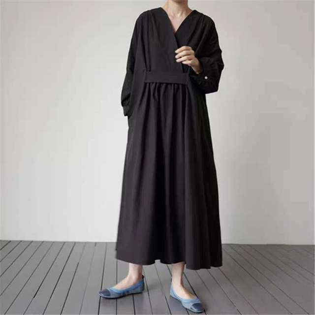 Johnature 2021 Autumn New Korean V-neck Full Sleeve Plus Size Solid Color Dresses Women Casual Loose Pockets Female Dress 4