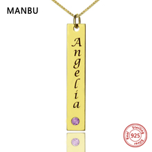 цены на Custom Name Bar Necklaces Personalized Gold silver Color with Birthstone pendant Necklace Engraved Nameplate for women jewelry  в интернет-магазинах