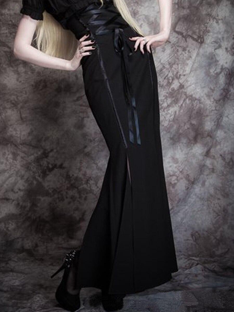Rosetic Vintage High Waist Skirts Women Sexy Bodycon Elegant Slim Mermaid Solid Black Gothic Long Skirt Office Ladies Spring