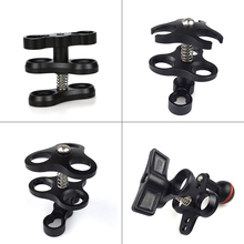 Ball Arm Clamp 3 Hole Camera Waterproof Case Tray Ball Joint Arm System Combination Clamp Diving Flashlight Holder 1 Inch