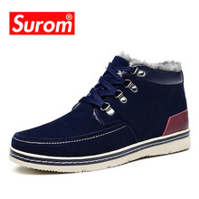 Buy SUROM Winter New Men's Boots Outdoor Warm Leather Shoes Men Waterproof Cow Suede Snow Boots Ankle Male Plush Cotton Shoes Adult directly from merchant!