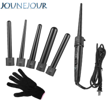 JUNEJOUR Hair Curler 5 In 1 Hair Curling Iron Ceramic Hair Curler Roller Interchangeable Hair Electric Salon Hair Styling Tool цены