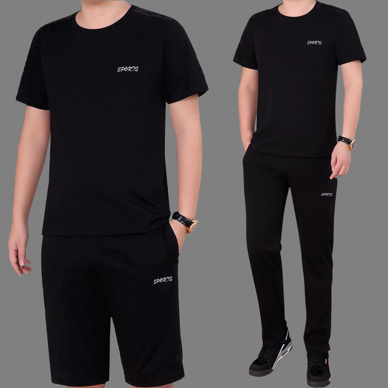 Summer New Style Middle-aged Set Fashion Casual Pure Cotton Trousers Short Sleeve Set MEN'S Sport Suit