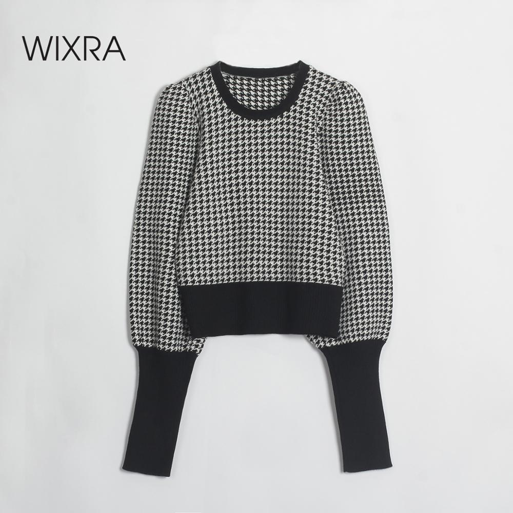 Wixra Pullovers Sweaters Stylish Plaid Print Long Sleeve Sweater Women Knitted Slim Basic Casual Jumpers 2020 Autumn Winter