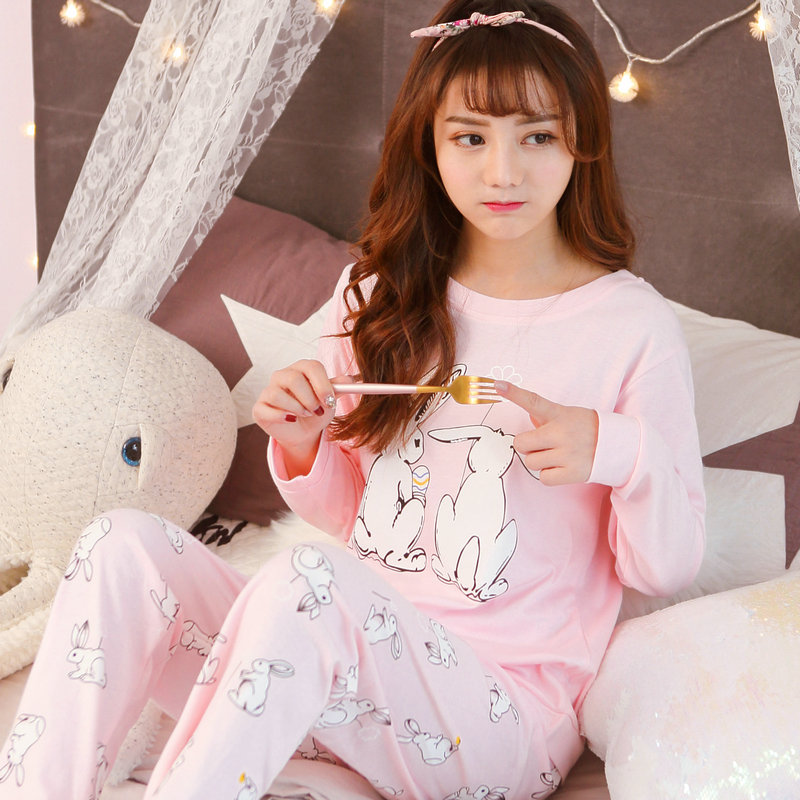 2020 Spring Autumn Casual Pajamas For Women 100% Cotton Made Good Quality 2 Pcs Loose Comfortable Sleepwear Indoor Wear