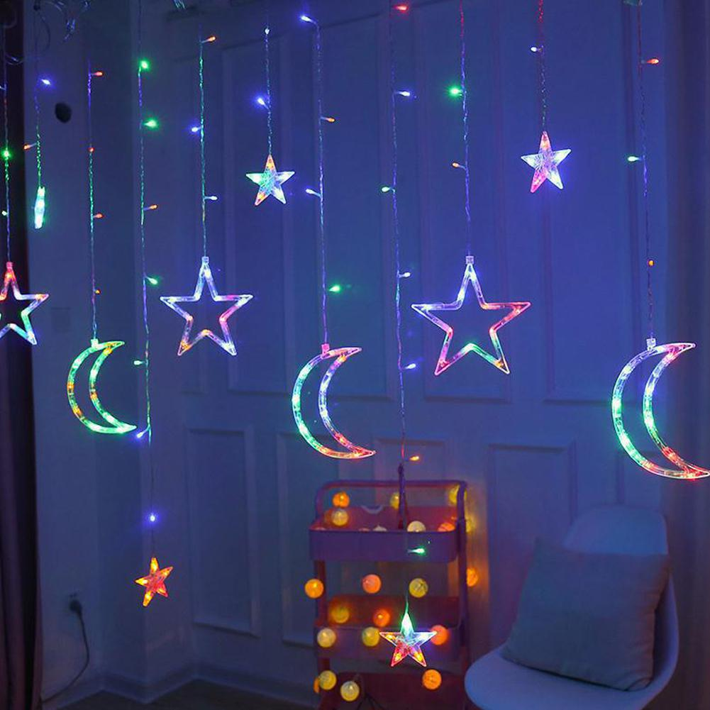 Moon Star Lamp LED Lamp String Ins Christmas Lights Decoration Holiday Lights Curtain Lamp Wedding Neon Lantern