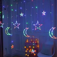 Moon Star Lamp LED Lamp String Ins Christmas Lights Decoration Holiday Lights Curtain Lamp Wedding Neon Lantern