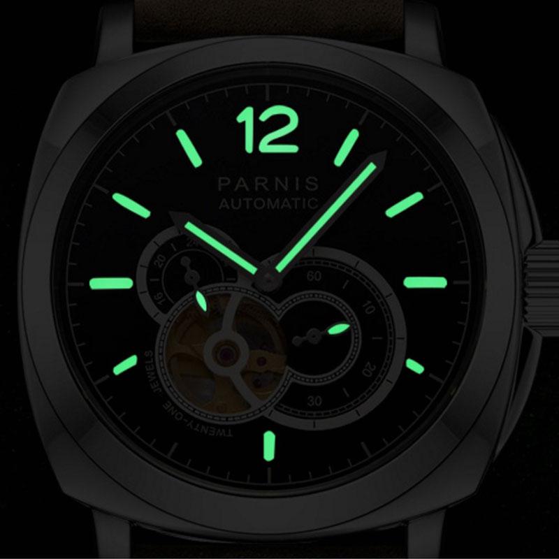 44mm PARNIS Black Dial Sapphire กระจกสแตนเลสสตีล LUME Top ยี่ห้อ Luxury 21 Jewels การเคลื่อนไหวอัตโนมัติ Miyota ผู้ชายนาฬิกา-ใน นาฬิกาข้อมือกลไก จาก นาฬิกาข้อมือ บน   3