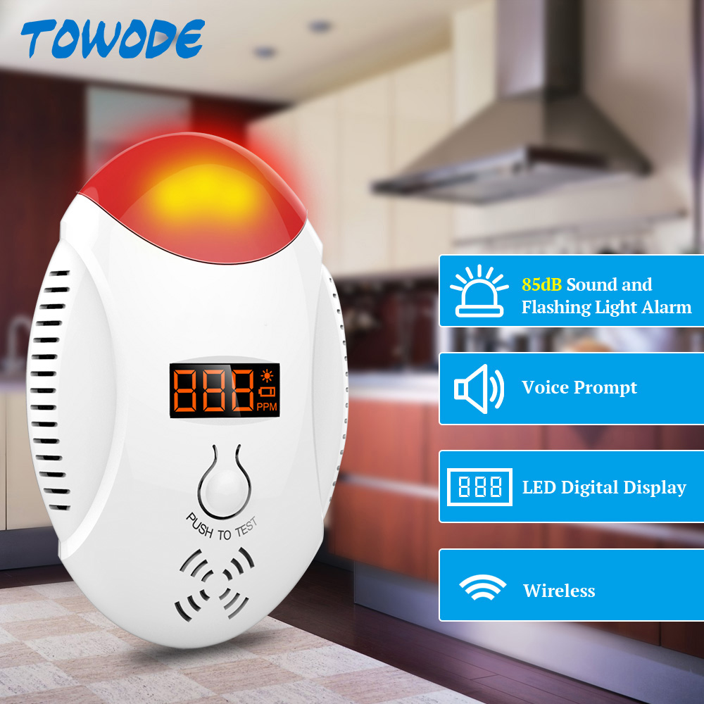 Wireless LED Digital Display Carbon Monoxide Sensor Voice Strobe Home Security Safety CO Carbon Alarm Detector Residential Alarm