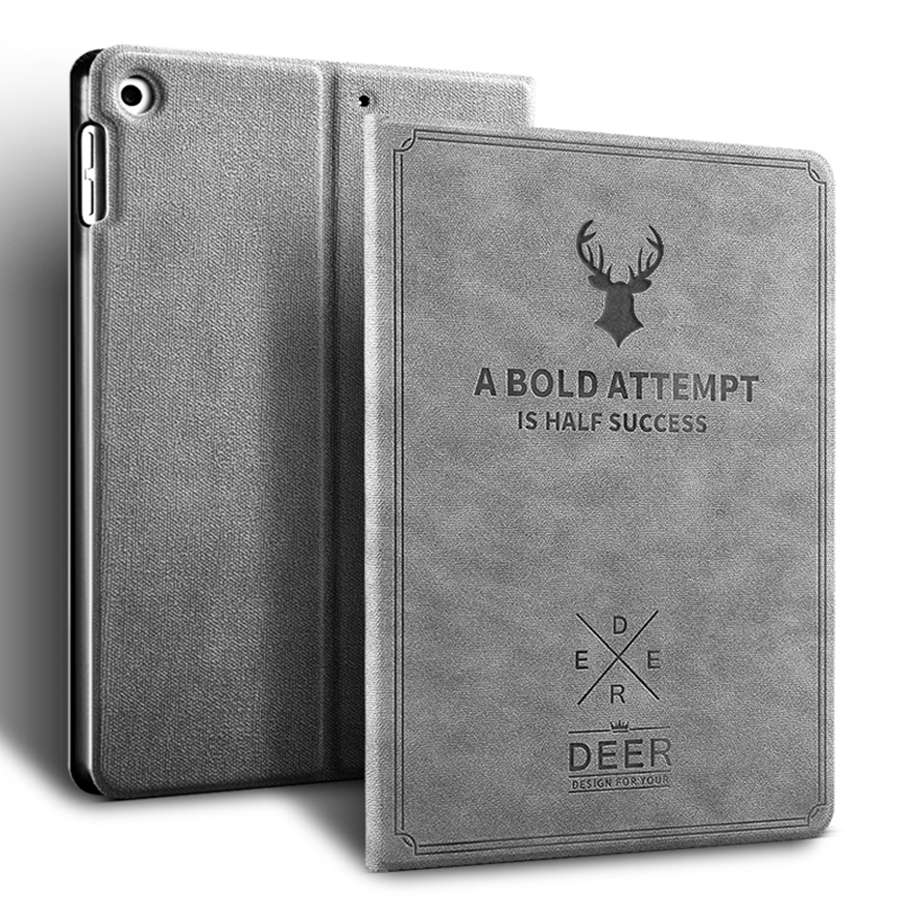 grey Red Deer Pattern PU Leather Case For Apple iPad 10 2 2019 Smart Stand Cover For iPad