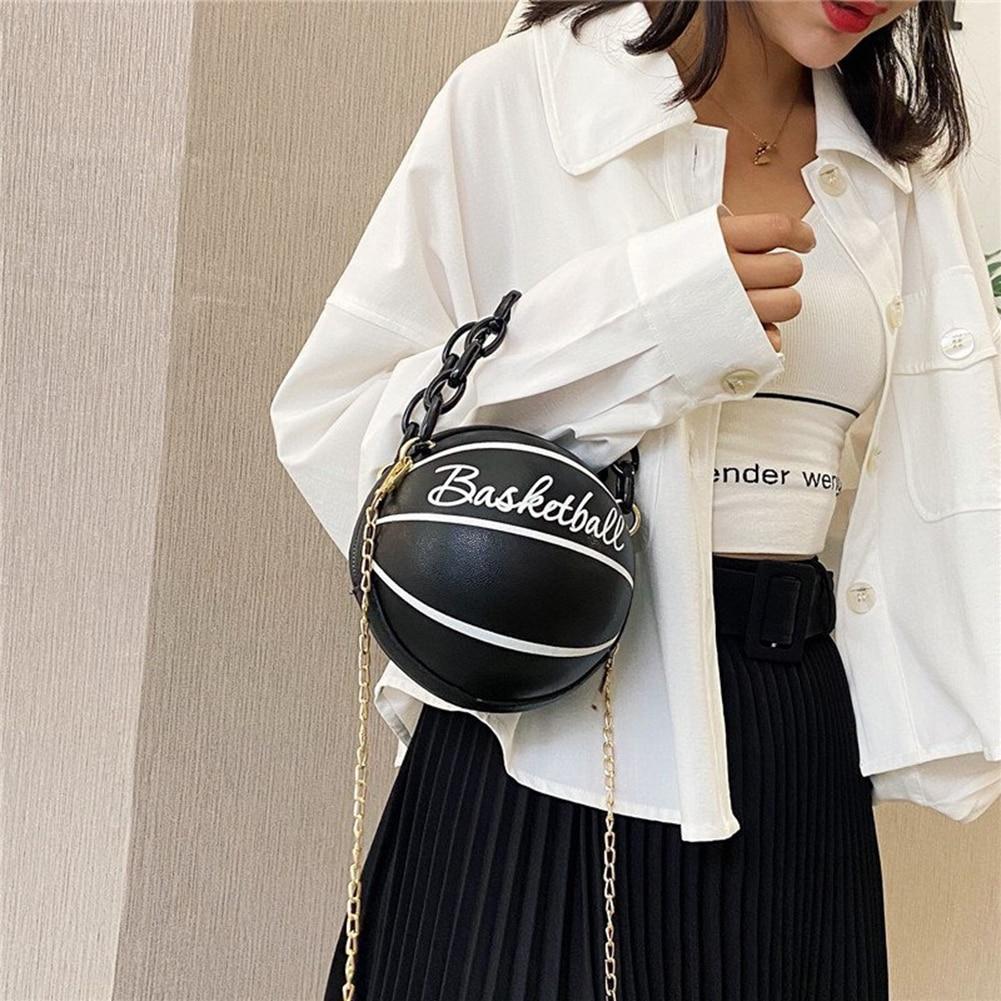 Индивидуальные баскетбольные круглые сумки через плечо для женщин 2020, повседневные маленькие сумки-тоуты с акриловой цепочкой, сумки через плечо из искусственной кожи-2