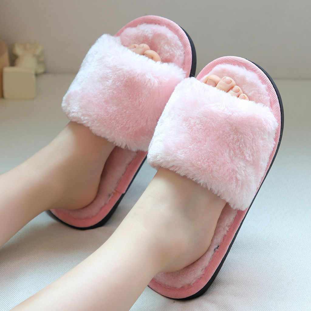Toddler Infant Kids Baby Warm Shoes Boys Girls Cartoon Soft-soled Slippers Slip-on Soft Solid Breath Children's Slippers Home