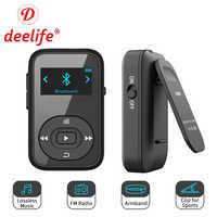 Deelife Спортивный MP3 плеер Bluetooth с зажимом, FM радио, повязка на руку, портативный мини MP 3, музыкальный плеер для бега, спортивный MP3-Player