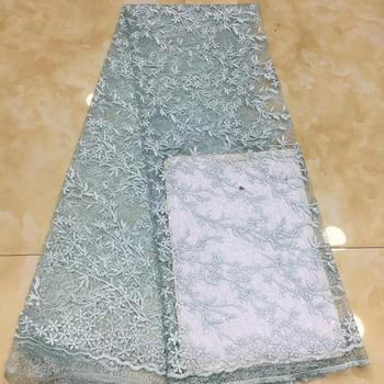 NaXiu African Sequins Lace Fabric Good Quaity Sequence Fabric Embroidery Nigerian Tulle Mesh Lace Fabric for Evening Party