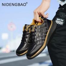 Men Running Shoes Waterproof Leather Sneakers Warm Outdoor Sport Shoes Non-slip Breathable Walking Sneakers Male Footwear недорого