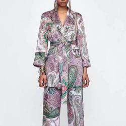 2019 Autumn  Style Paisley Printed Casual Suit Jacket Mid-length Womens Blazer Casual Long Sashes Coat Clothes Blazer Feminino