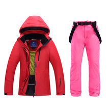 2019 Wanita Ski Perapi Padat Warna Penebalan Ski Suit Windproof Splash-Proof Kain Hangat Bernapas Double Papan Outdoor(China)