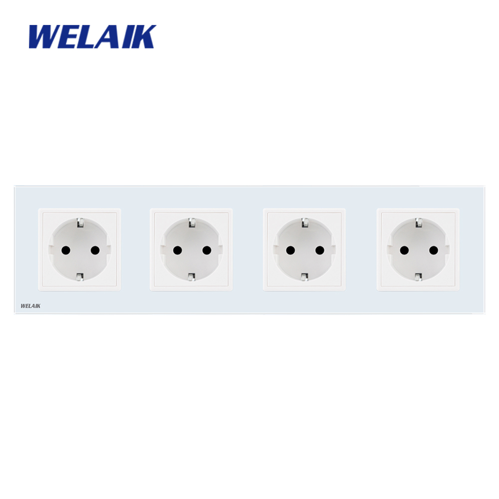 WELAIK 16A Power-Socket Glass-Panel Wall-Outlet-White-Wall-Socket Ac110--250v A18EW Manufacturer-European-Standard