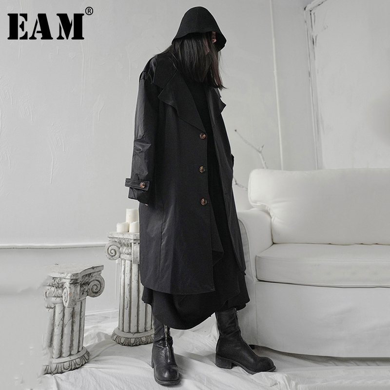 [EAM] Women Black Single Breasted Big Size Trench New Lapel Long Sleeve Loose Fit Windbreaker Fashion Tide Spring 2020 1S240