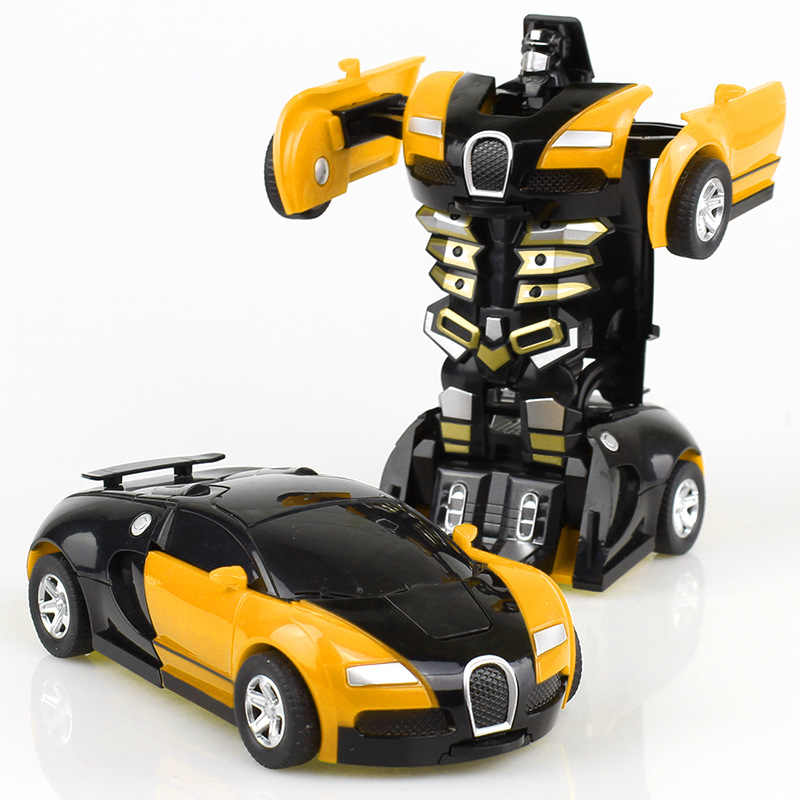 Yellow Collision Transforming Robot Deformation Transformation Plastic Car Inertial Toy Children Boy Model Gift