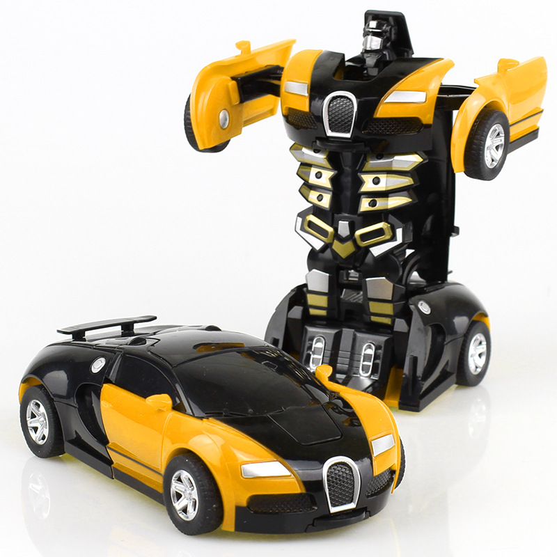 Yellow Collision Transforming Robot Deformation Transformer Plastic Toy Car Inertial Toy Children Boy Model Gift