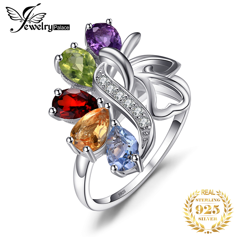 JewelryPalac Natural Amethyst Citrine Garnet Peridot Topaz Ring 925 Sterling Silver Rings For Women Silver 925 Gemstones Jewelry