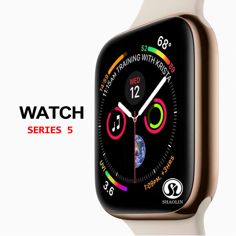 50%off Smart Watch Series 5 SmartWatch Case For Apple IPhone Android Smart Phone Heart Rate Monitor Pedometor (Red Button)