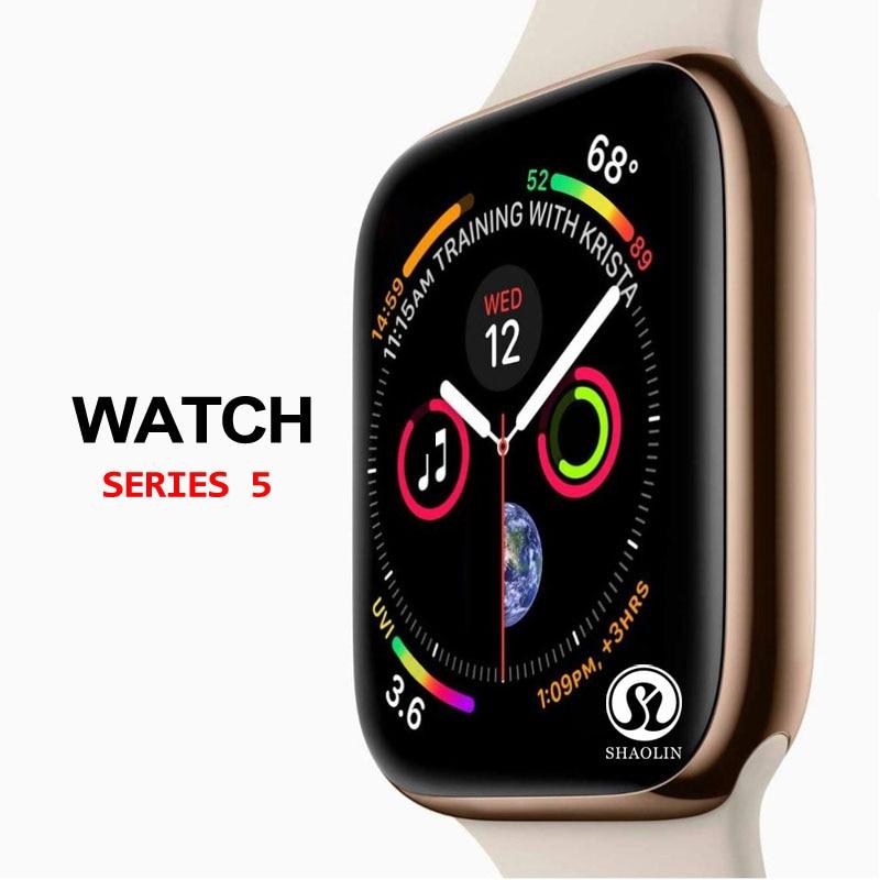 50% de réduction sur la montre intelligente série 5 SmartWatch case pour apple iPhone Android smartphone moniteur de fréquence cardiaque pedometor (bouton rouge)