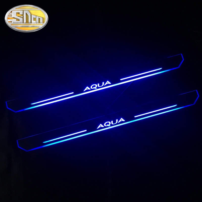 SNCN 2PCS Car LED Door Sill For Toyota AQUA 2014 - 2017 2018 Ultra-thin Acrylic Dynamic LED Welcome Light Scuff Plate Pedal