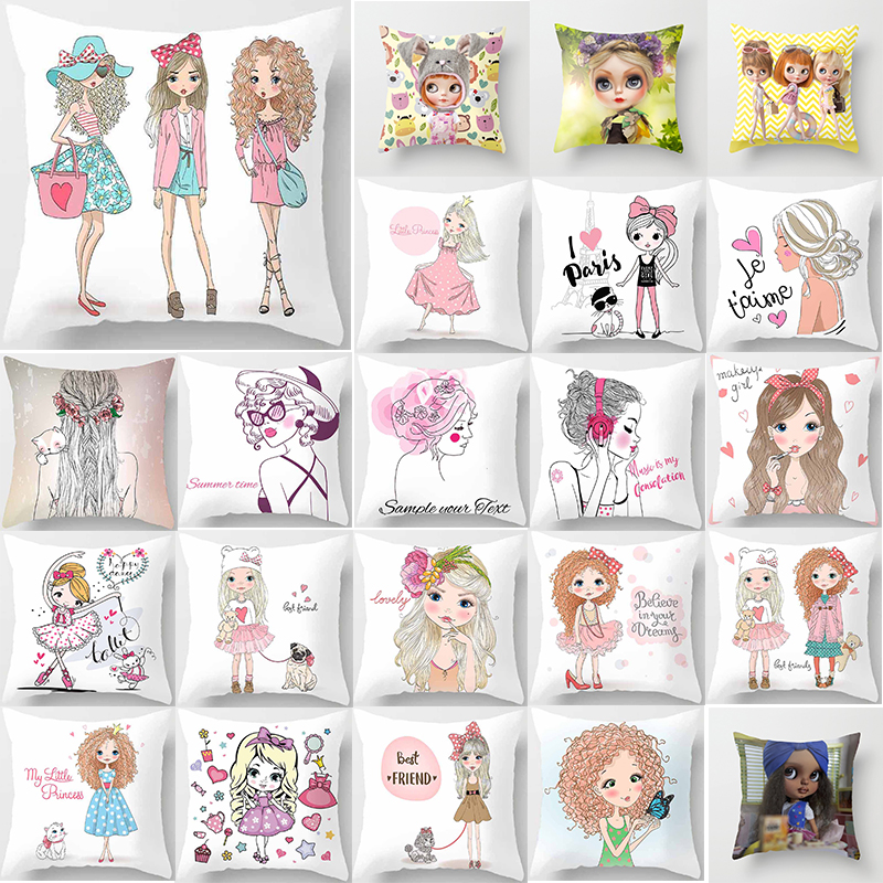 Hot Sale Cartoon Girls  Pillow Cases  Square Pillow Case Cute Cartoon Ladies Pillow Covers Size 45*45cm
