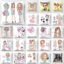 Hot sale cartoon girls  pillow cases  square Pillow case cute cartoon ladies pillow covers size 45*45cm hot sale cartoon girls pillow cases square pillow case cute cartoon ladies pillow covers size 45 45cm