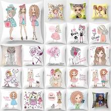 Hot sale cartoon girls  pillow cases  square Pillow case cute cartoon ladies pillow covers size 45*45cm hot sale beauty flower cats pillow cases square pillow case cute cartoon rabbit pillow covers size 45 45cm