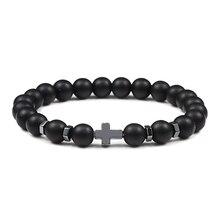 Heißer Männer Kreuz Schwarz Lava Armbänder Natürliche Tiger Eye Stein Onyx Meditation Gebet Holz Perle Armband Armreif Frauen Yoga Schmuck