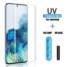 УФ защитное закаленное стекло на экран для Samsung S21 Plus Ultra Screen Protector S10 плюс тонкая пленка для S8 S9 S20 Note 8, 9, 10, 20 E 5G S 10 8 9 21 стекло