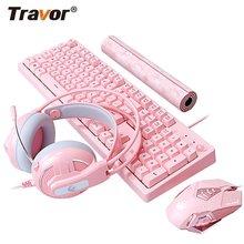 Travor led backlit gaming teclado e mouse combinação com fio usb teclado 4800dpi notebook portátil para escritório casa