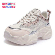 Krasovki Genuines Sneakers Women Mesh Breathable Dropshipping Korean Version Fashion Thick Bottom Leisure Shoes