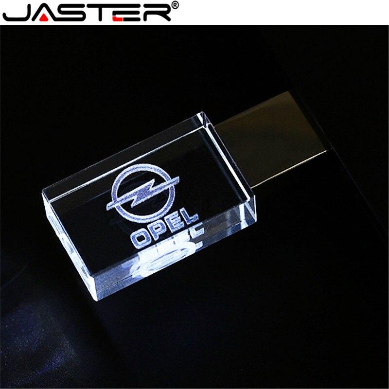 JASTER OPEL Crystal + Metal USB Flash Drive Pendrive 4GB 8GB 16GB 32GB 64GB 128GB External Storage Memory Stick U Disk