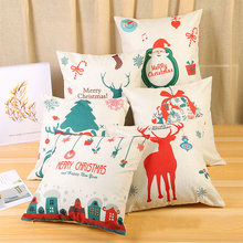 купить 2020 Navidad Xmas Gift 45x45cm Cotton Linen Merry Christmas Cover Cushion Christmas Decor Home Happy New Year Decor Pillow Case дешево