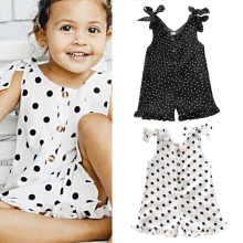 2020 New Polka Dots Print Romper Sleeveless Strap Sunsuit Jumpsuits Outfit Baby Summer Clothing Toddler Infant Baby Girls 1-5Y