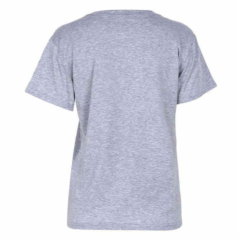 2019 Novo Europeu Americano Letras Pring Verão Mulheres O Pescoço T Camisa Cinza Claro Tops Casuais Camisas de Manga Curta T plus Size