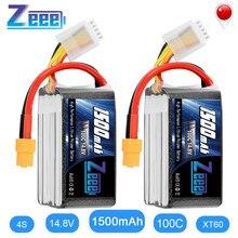 Zeee – batterie Lipo 4s 14.8V, 1500mAh, 100C, avec connecteur XT60, pour voiture RC, camion, avion, Drone FPV, 2 unités