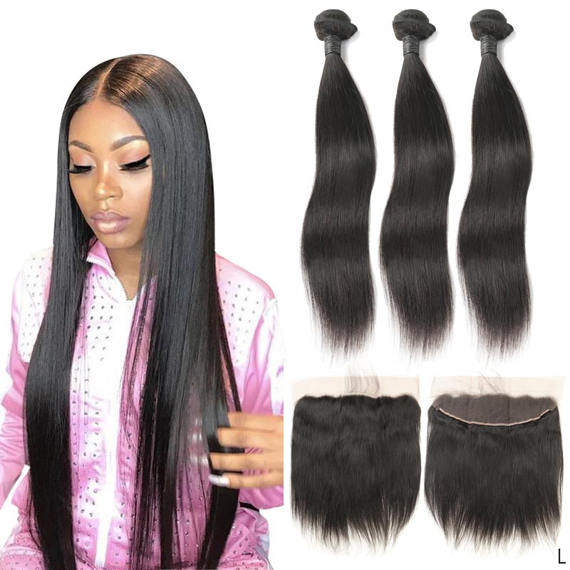 Peruvian Hair Remy Straight Real Human Hair Bundles With Ear To Ear 13x4 Lace Frontal With Baby Hair Extensions Near Me Z Silky