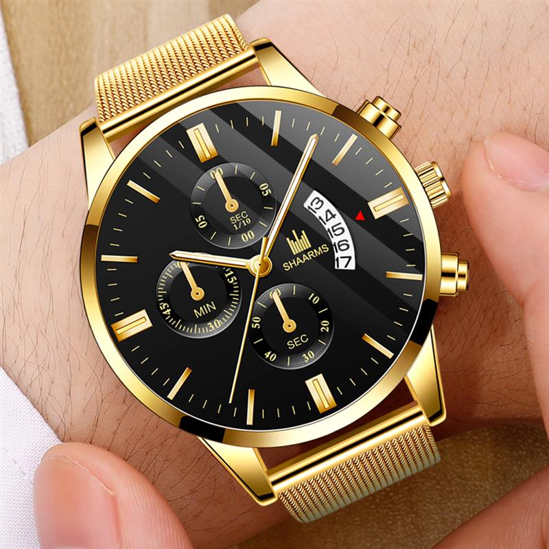 SHAARMS 2019 Luxury Men Gold Watch Stainless Steel Quartz Date Watches Male Man Fashion Business Wristwatch Reloj Hombre