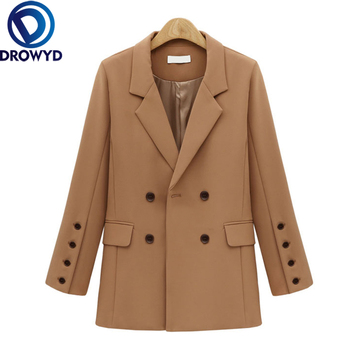 Autumn and Winter Women's Khaki Blazer Jacket Casual Solid Color Double-breasted Pocket Decorative Coat 2020 Office Work Suit cut and sew panel pocket decoration coat